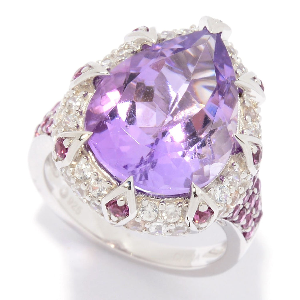 Pinctore Sterling Silver Pear Cut Pink Amethyst & White Zircon Ring
