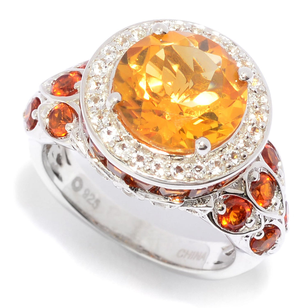 Pinctore Sterling Silver 5.01ctw Citrine & White Topaz Halo Ring