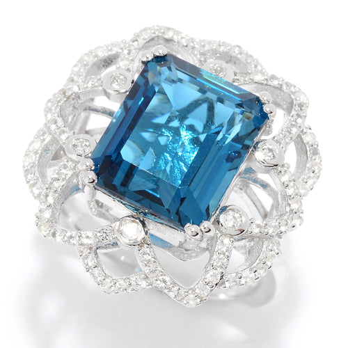 Pinctore Sterling Silver 7.49ctw London Blue Topaz & Gemstone Flower Ring - pinctore