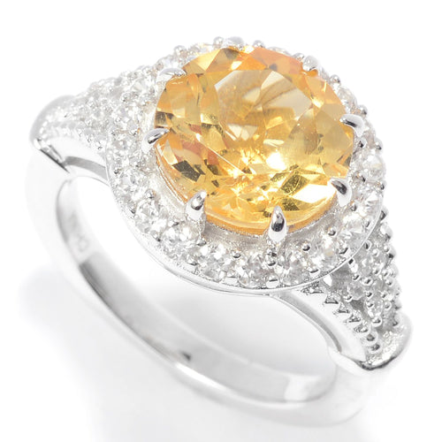 Pinctore Sterling Silver 10mm Round Citrine & White Zircon Halo Ring - pinctore