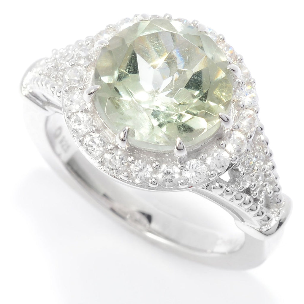 Pinctore Sterling Silver 10mm Round Green Amethyst & White Zircon Halo Ring