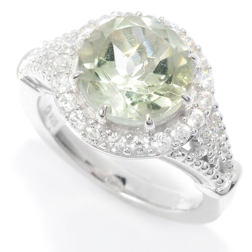 Pinctore Sterling Silver 10mm Round Green Amethyst & White Zircon Halo Ring - pinctore