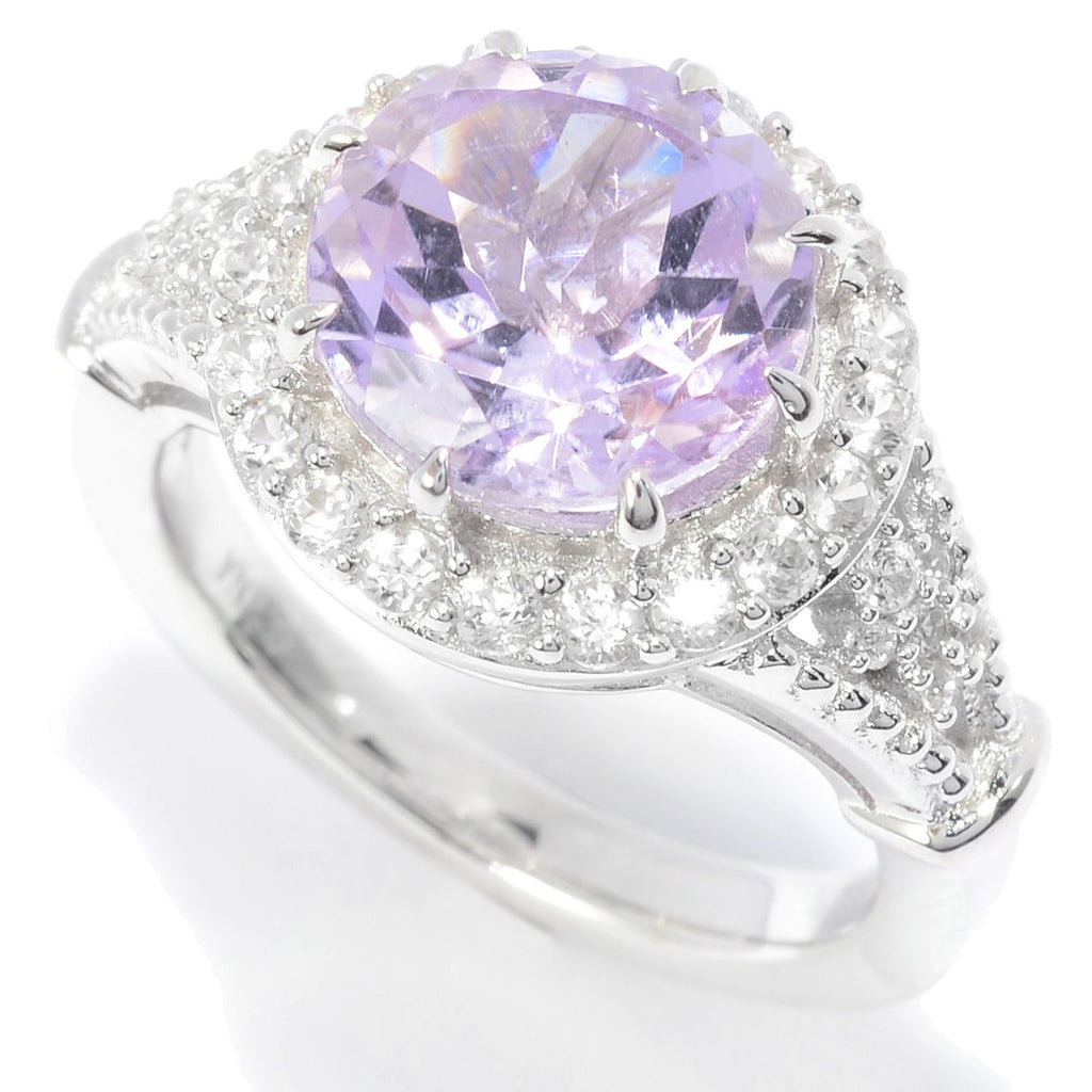 Pinctore Sterling Silver 10mm Round Pink Amethyst & White Zircon Halo Ring
