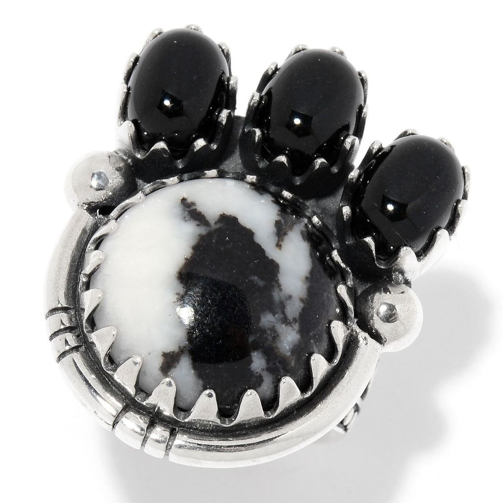 Pinctore Sterling Silver White Buffalo Gemstone Oxidized Ring - pinctore