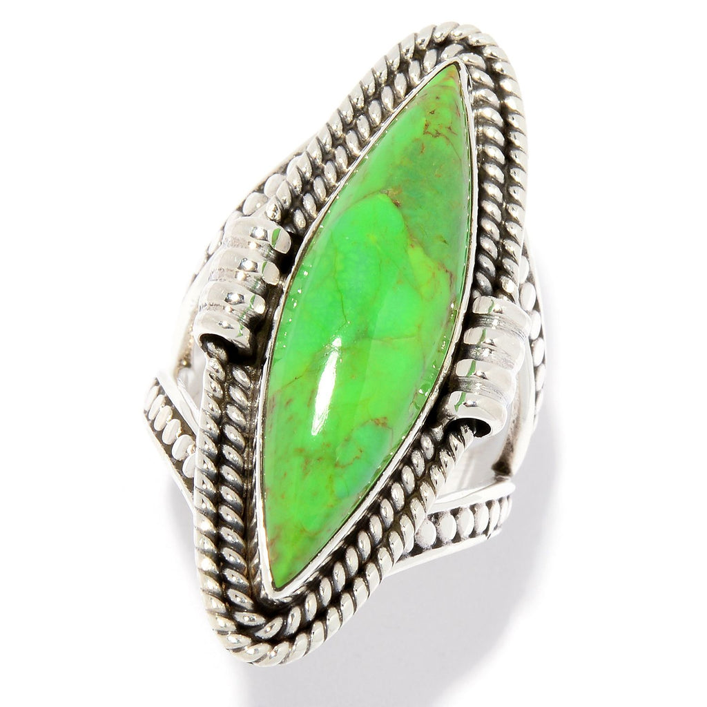 Pinctore Sterling Silver 28 x 8mm Green Mohave Turquoise Elongated Ring - pinctore