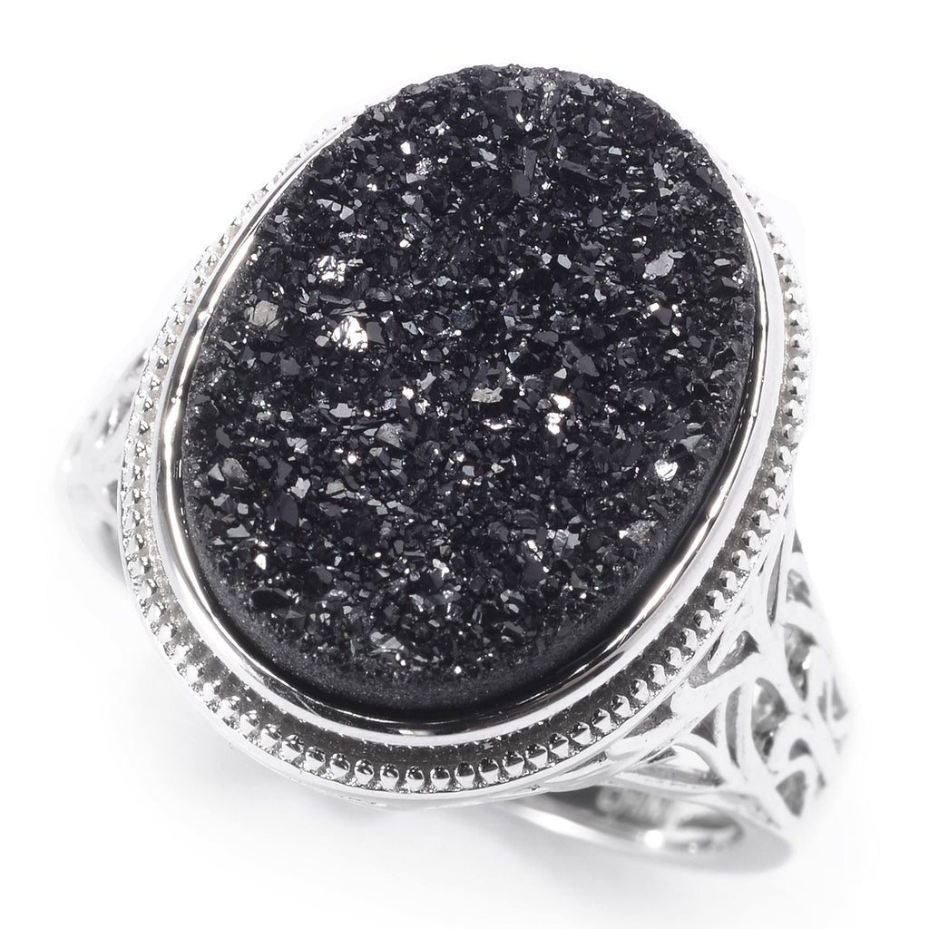 Pinctore Sterling Silver 16 x 12mm Oval Black Drusy Filigree Ring - pinctore