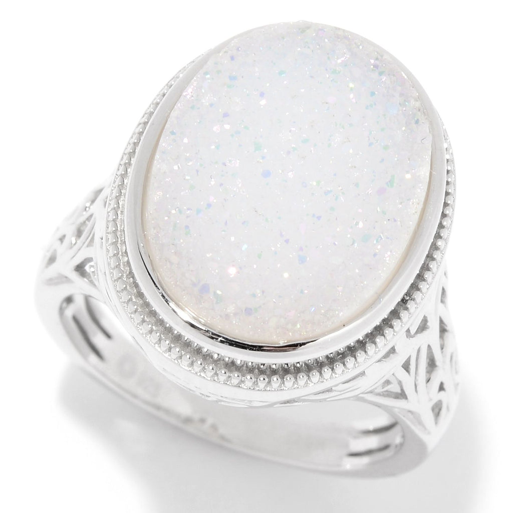 Pinctore Sterling Silver 16 x 12mm Oval Snow Opal Drusy Filigree Ring - pinctore