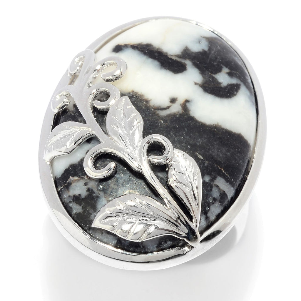 Pinctore Sterling Silver Oval White Buffalo Calcite Quartz Leaf Overlay Ring - pinctore