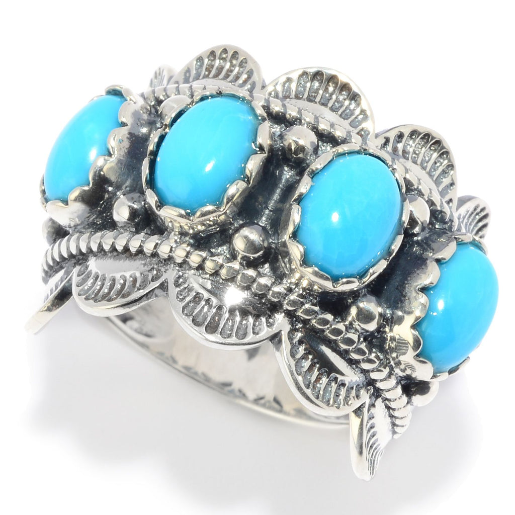 Pinctore Sterling Silver Kingman Turquoise Scalloped Edge Band Ring - pinctore