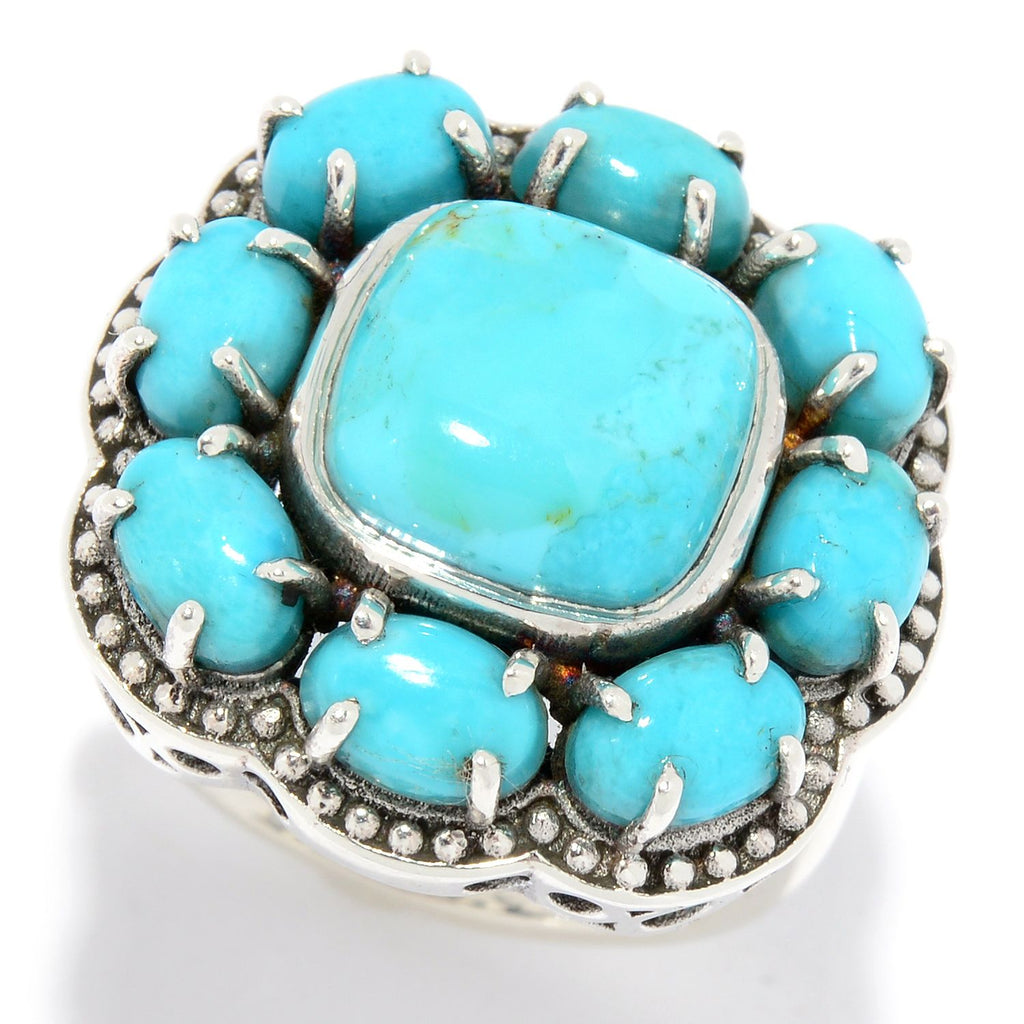 Pinctore Sterling Silver 10mm Kingman Mohave Turquoise Beaded Halo Ring - pinctore