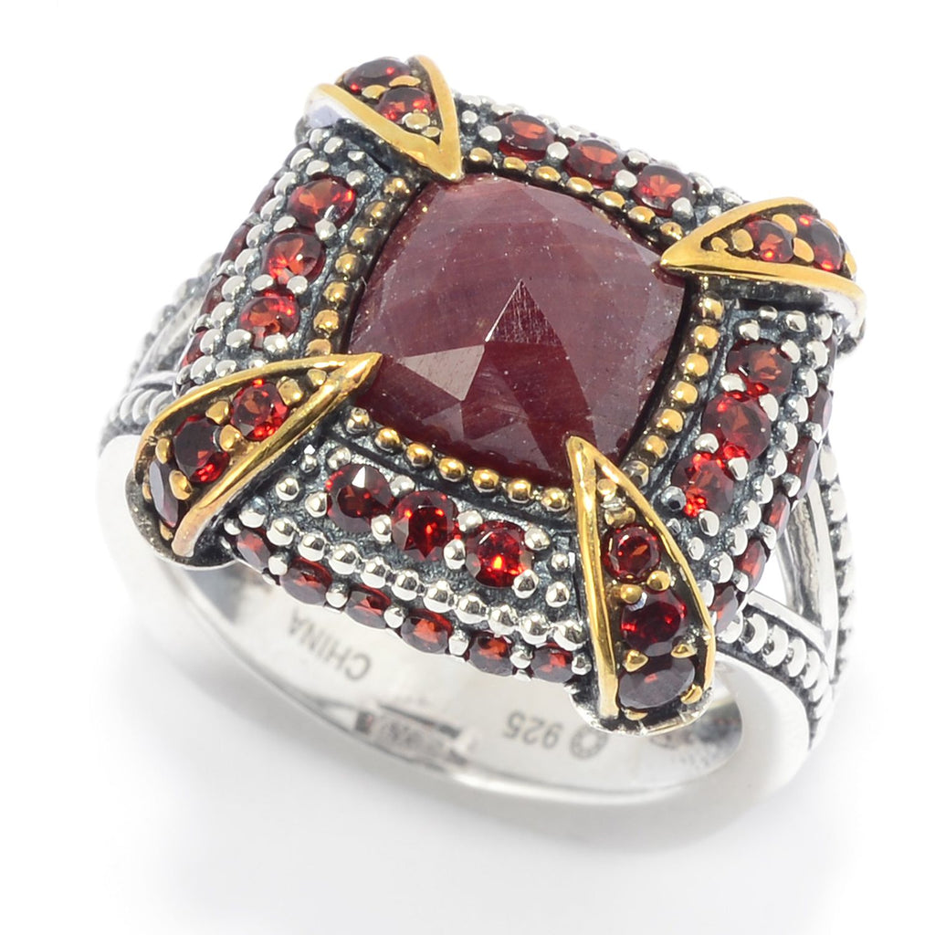 Pinctore Sterling Silver Rose Cut Madurai Ruby & Garnet Ring - pinctore
