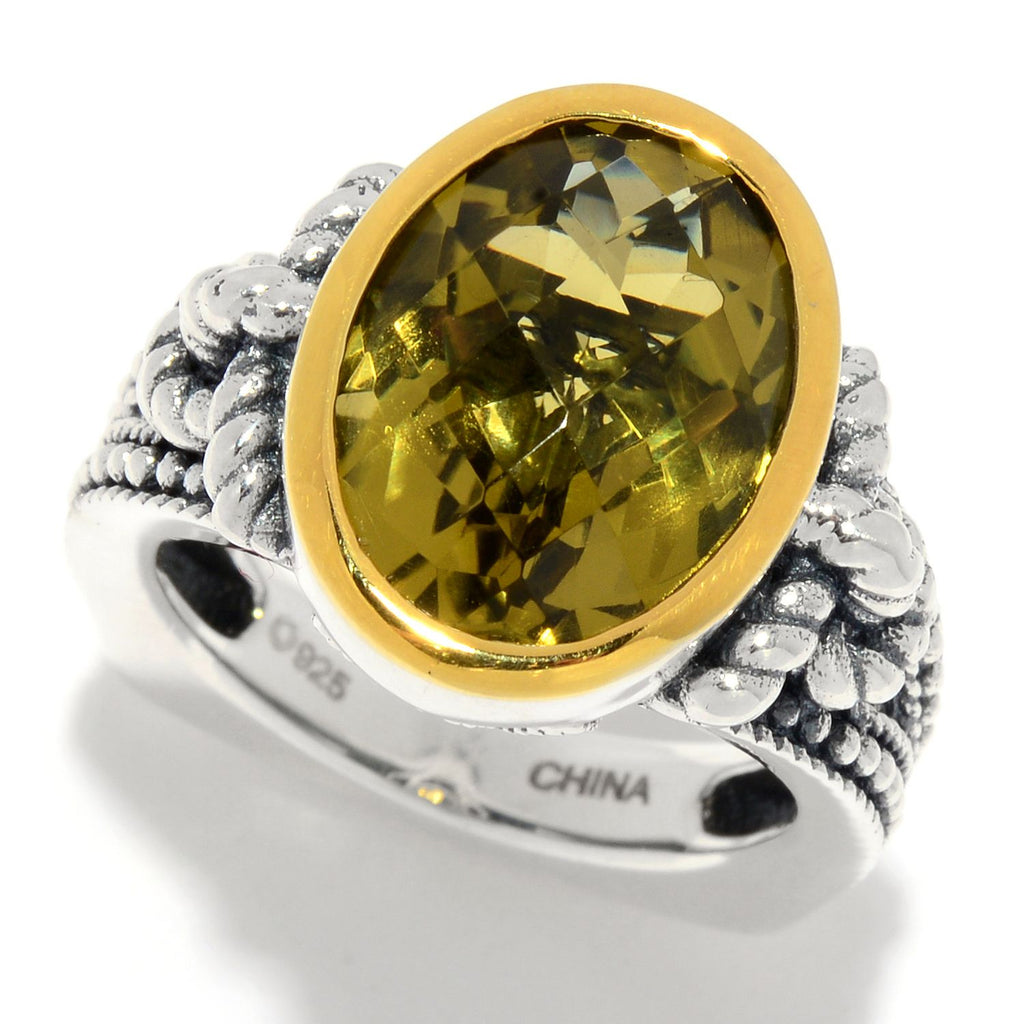 Pinctore 5.00ctw Oval Olive Quartz Textured Solitaire Ring