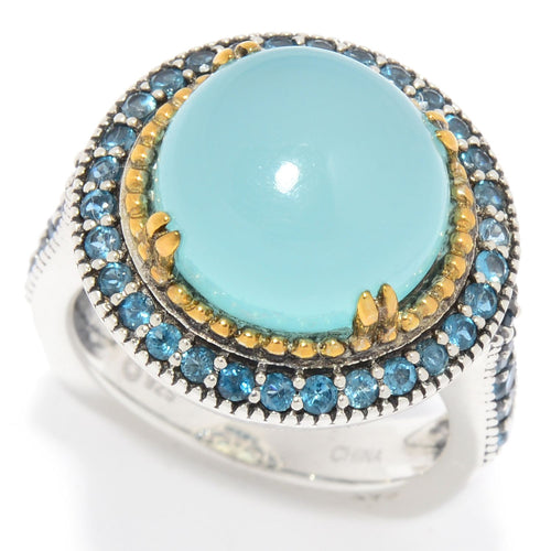 Pinctore Sterling Silver 7.20ctw Aqua Chalcedony & London Blue Topaz Halo Ring - pinctore