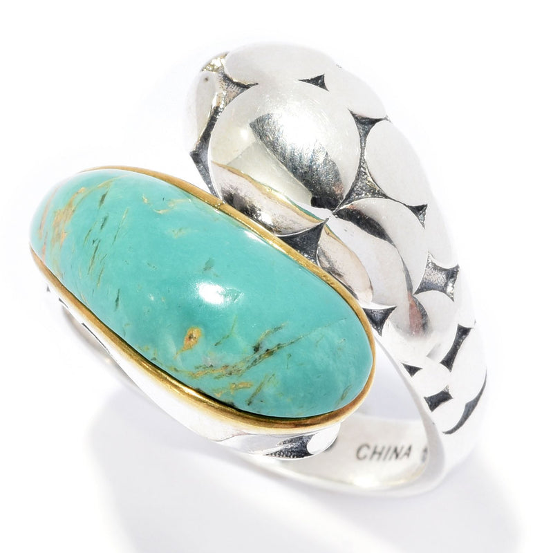Pinctore Sterling Silver 17.5 x 6.5mm Tyrone Turquoise Bypass Ring - pinctore