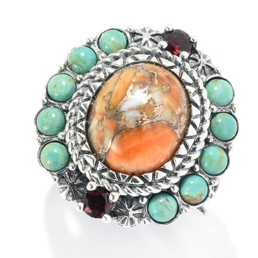 Pinctore Sterling Silver Orange Spiny Oyster & Gemstone Halo Ring - pinctore