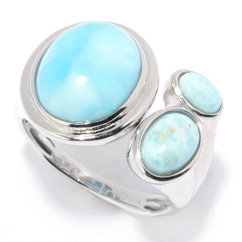 Pinctore Sterling Silver 12 x 10mm Oval Shaped Larimar Bypass Ring - pinctore