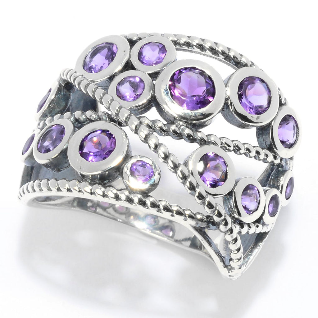 Pinctore Sterling Silver Round Amethyst Beaded Wide Band Ring