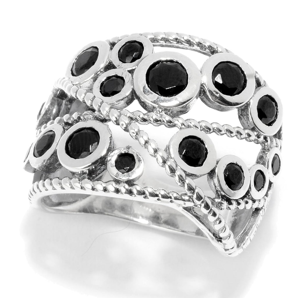 Pinctore Sterling Silver Round Black Spinel Beaded Wide Band Ring