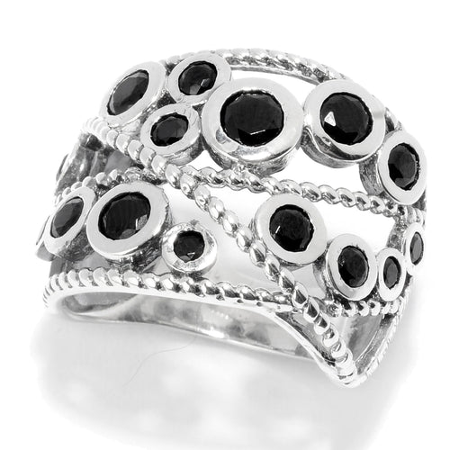 Pinctore Sterling Silver Round Black Spinel Beaded Wide Band Ring - pinctore