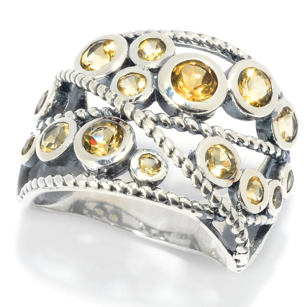 Pinctore Sterling Silver Round Citrine Beaded Wide Band Ring