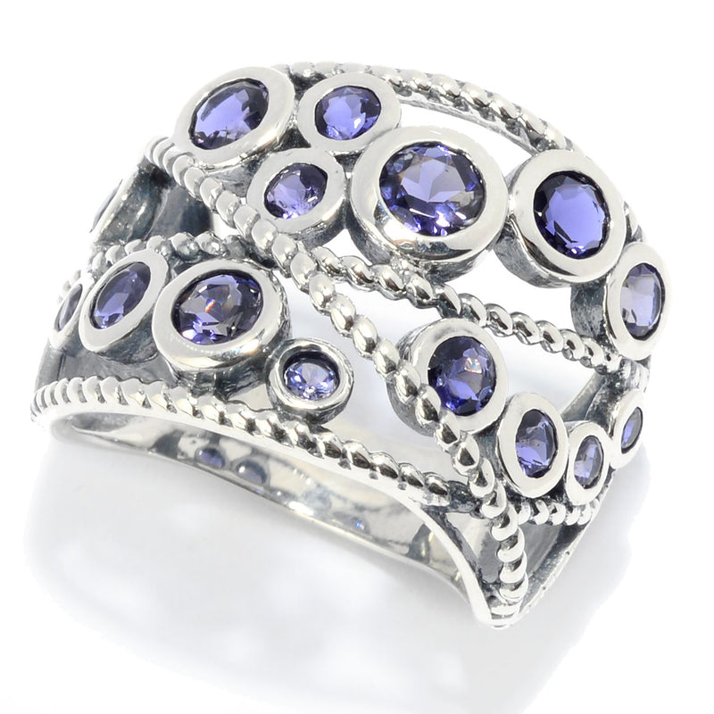 Pinctore Sterling Silver Round Iolite Beaded Wide Band Ring - pinctore