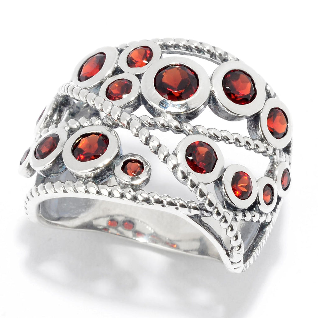 Pinctore Sterling Silver Round Red Garnet Beaded Wide Band Ring