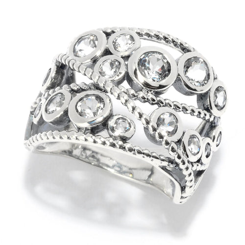 Pinctore Sterling Silver Round White Topaz Beaded Wide Band Ring - pinctore