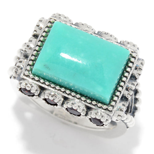 Pinctore Sterling Silver Turquoise & Gem East-West Ring - pinctore