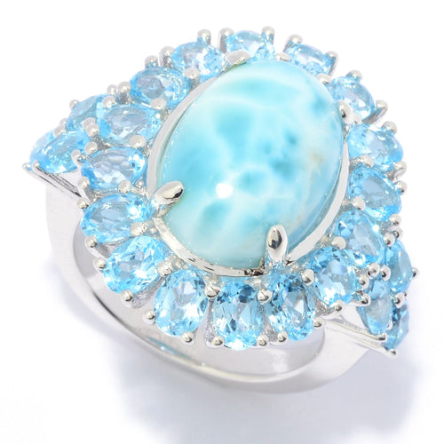 Pinctore Sterling Silver 14 x 10mm Larimar & Blue Topaz Halo Ring - pinctore