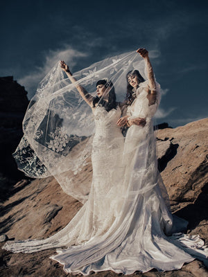 @margauxbrooke @odylynetheceremony embroidered bridal veil