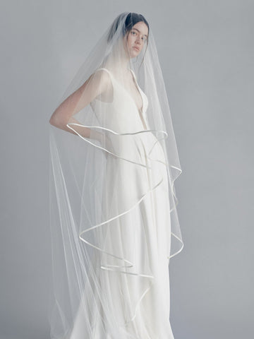 Satin trim wedding cathedral bridal veil with blusher