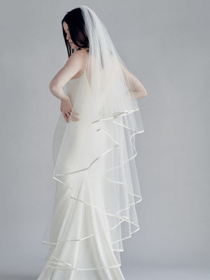 single satin trim wedding veil