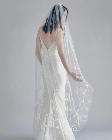 FOLK MAGIC EMBROIDERED BRIDAL VEIL - New Phrenology wedding veils