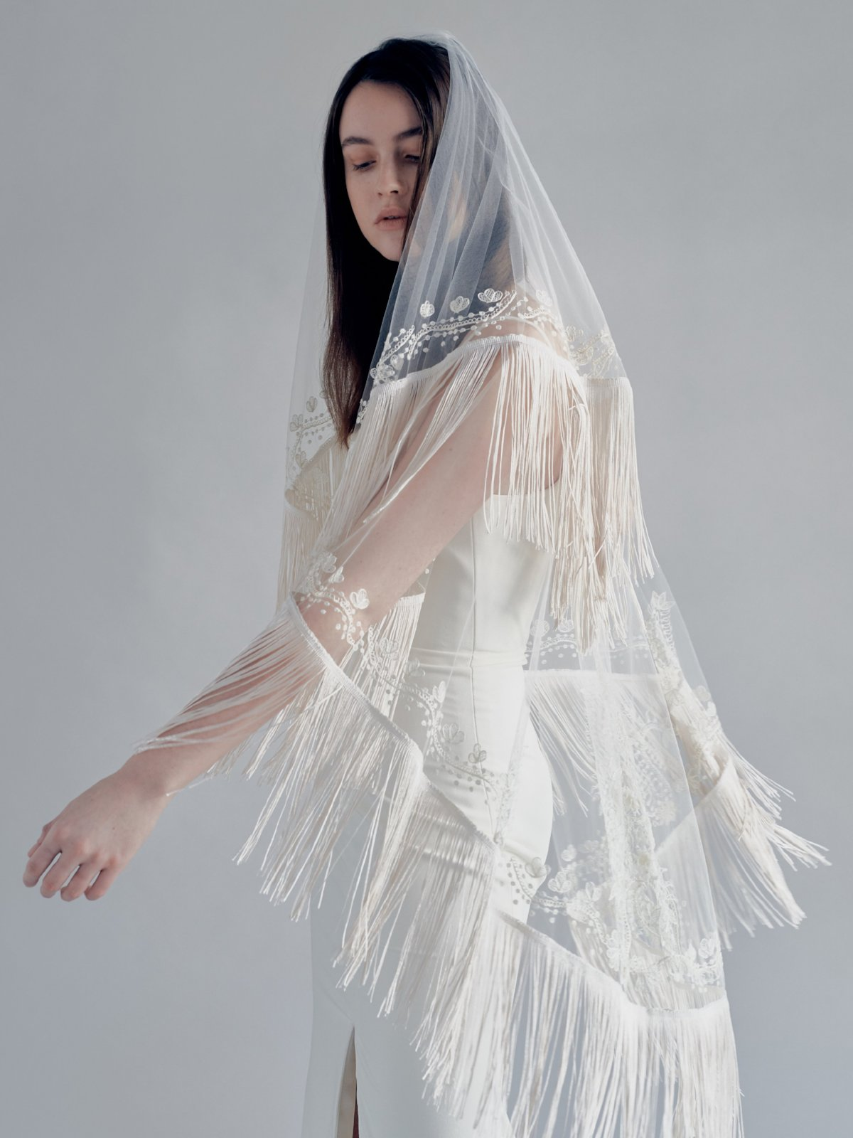 fringe embroidered bridal veil