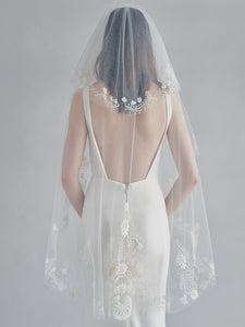 boho embroidered bridal veil with blusher