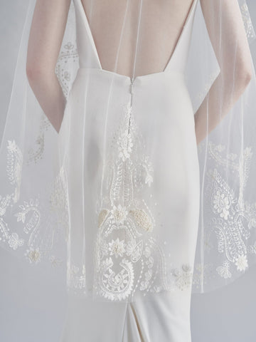 embroidered bohemian cool bridal veil