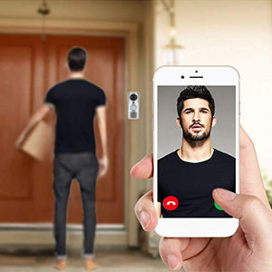 Pudincoco LESHP Smart 2.4G WiFi Doorbell HD 1080 x 720P Camera Smart Guard & APP Live-View Infrared Night Vision 180 Degree Wide Angle(Silver)