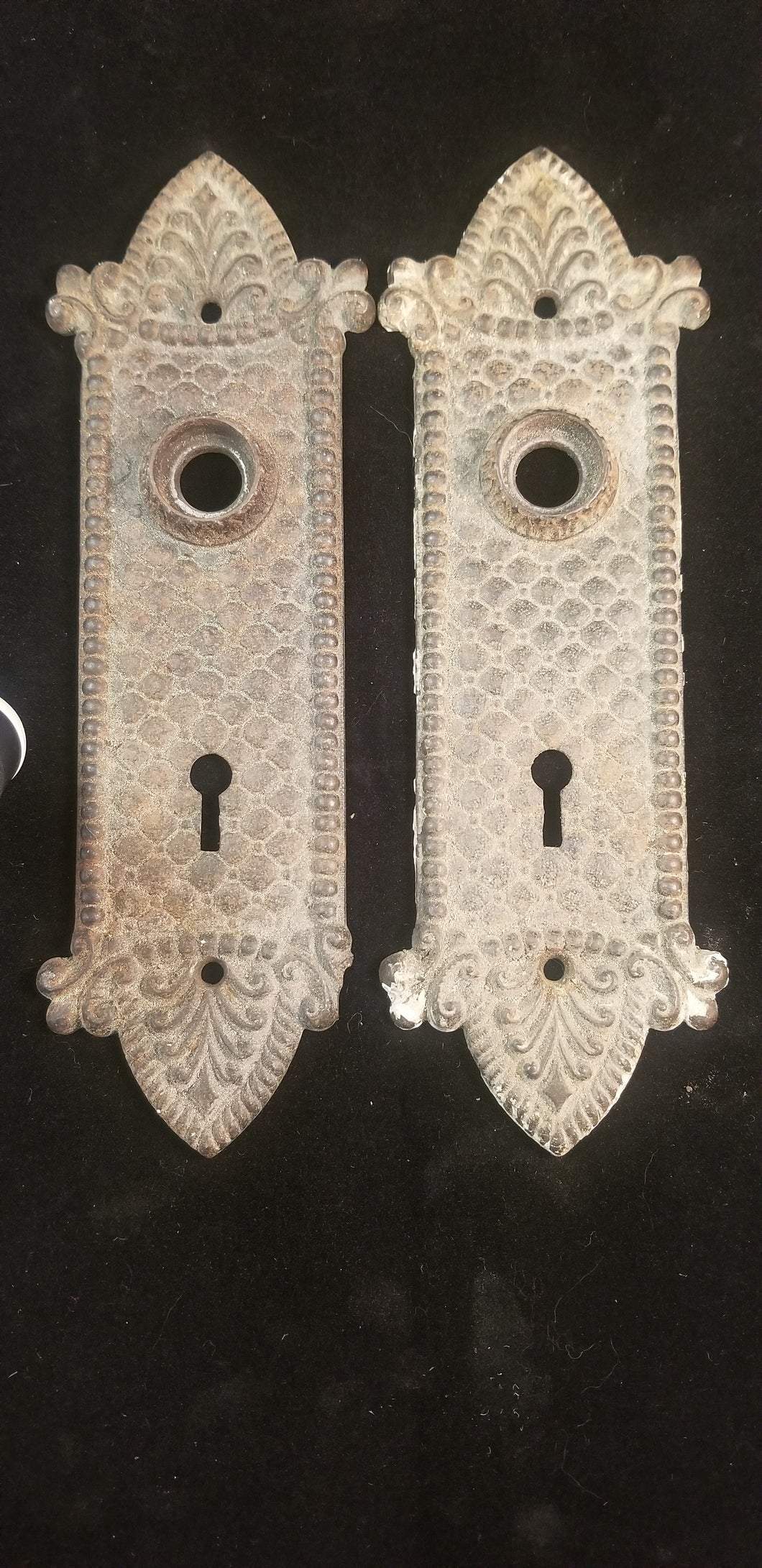 Victorian escutcheons cast brass pair