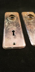 Copper flashed craftsman door knob escutcheons pair