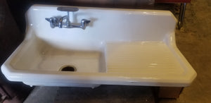 Kitchen farm house sink with back splash and drain board