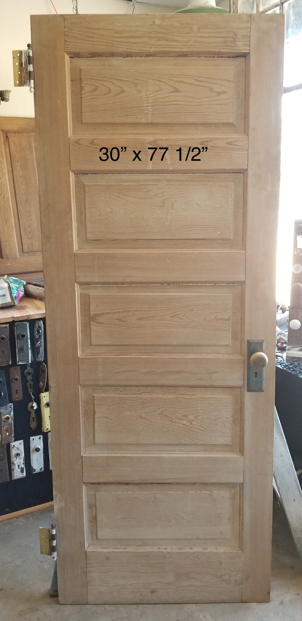 "30"" x 77 1/2"" Pine 5 panel bedroom door with hardware"