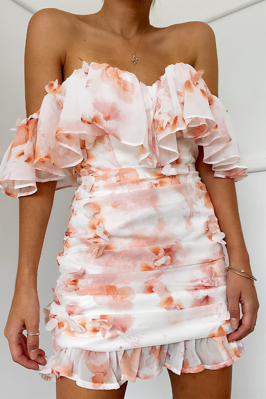 ANAIRO DRESS - PEACH FLORAL
