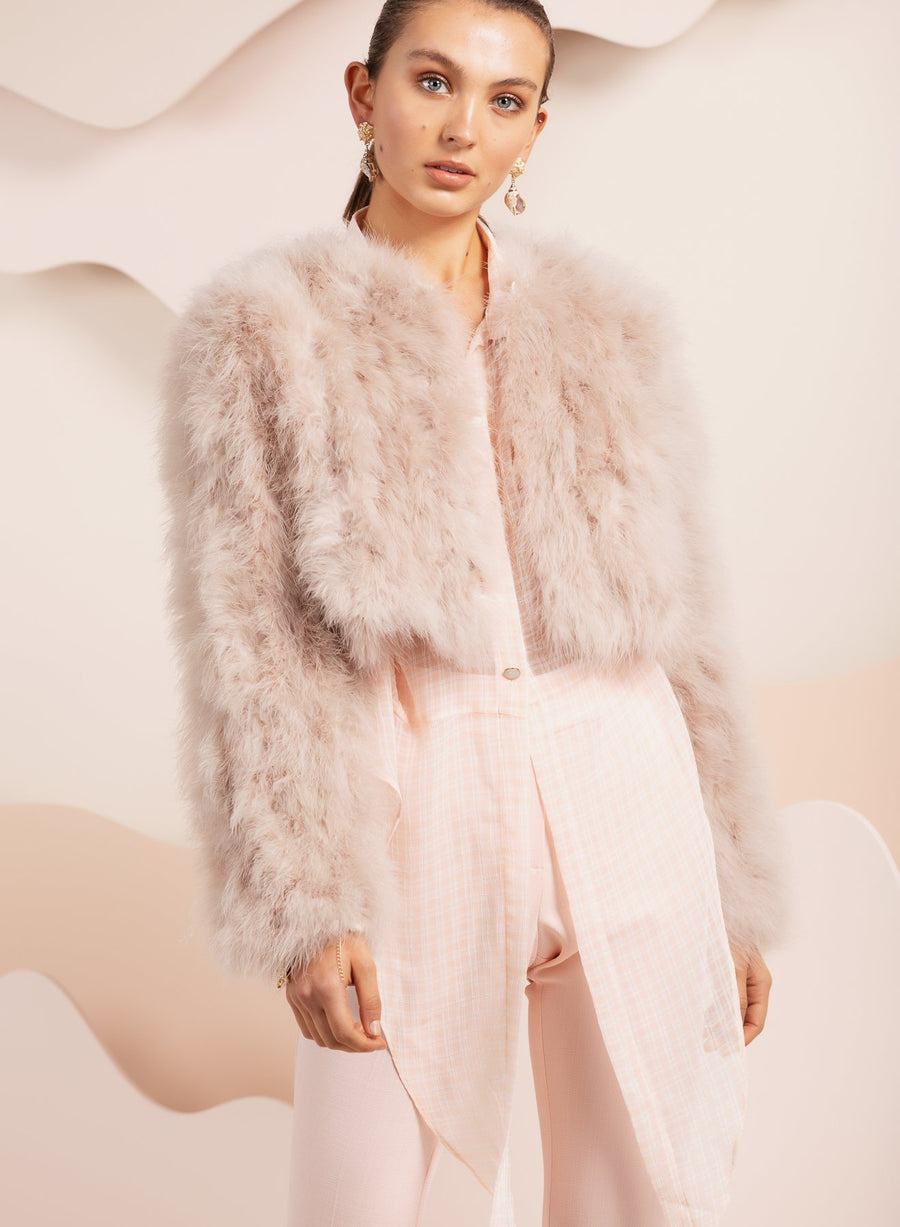 Manhattan Feather Jacket - Blush