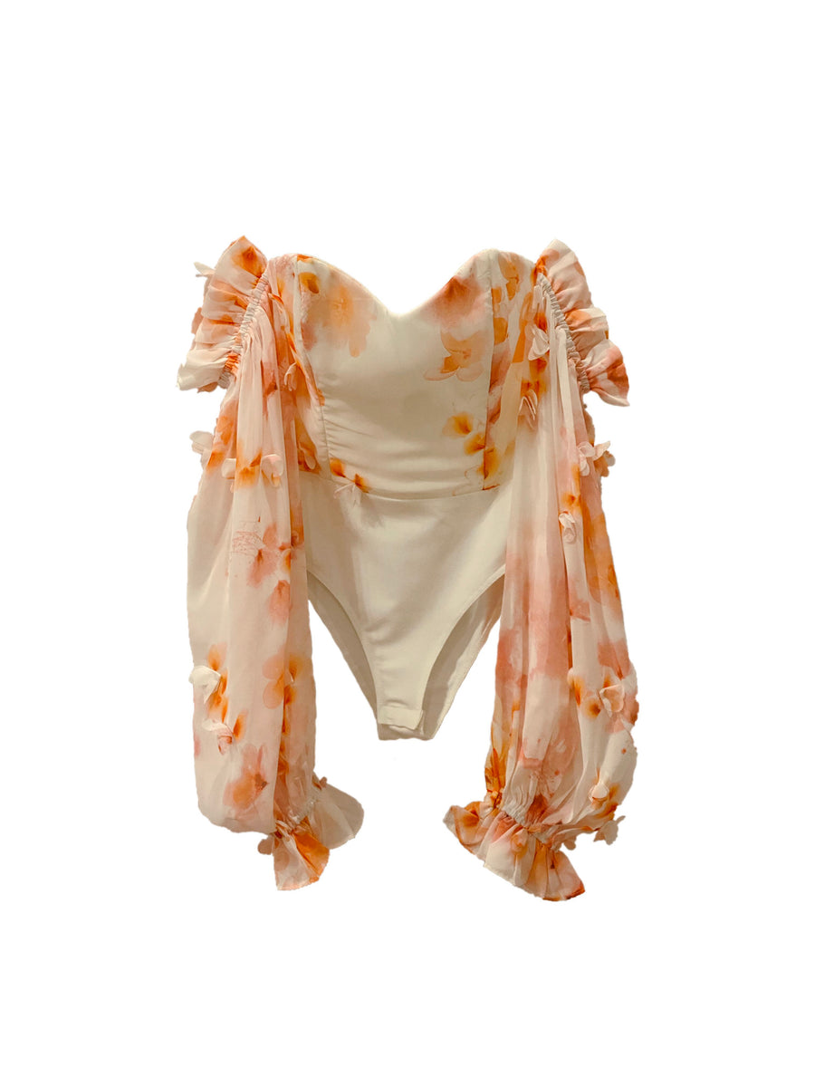 ANAIRO BODYSUIT - ORANGE FLORAL