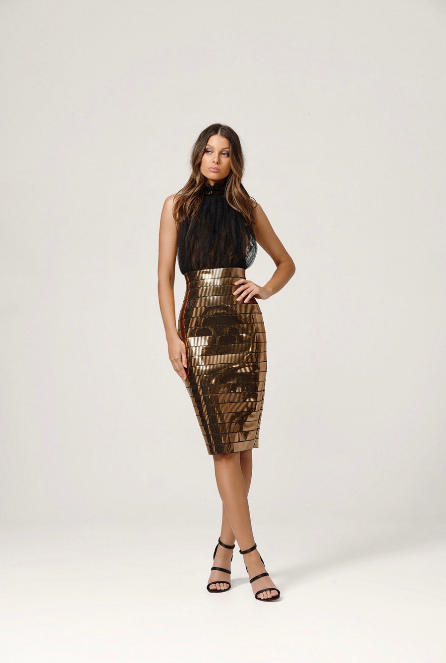 MICAH DRESS GOLD