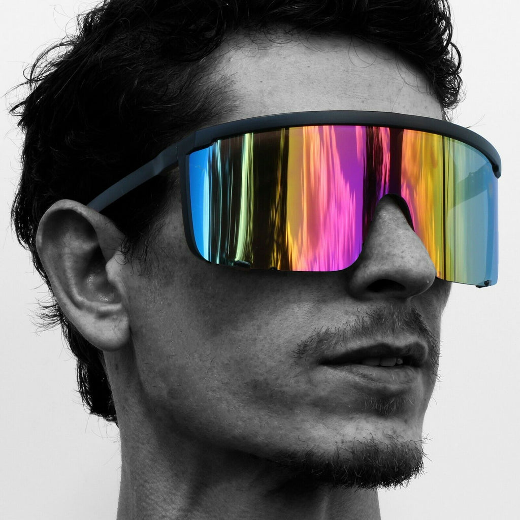 Oversized Shield Mirrored Lens Sunglasses
