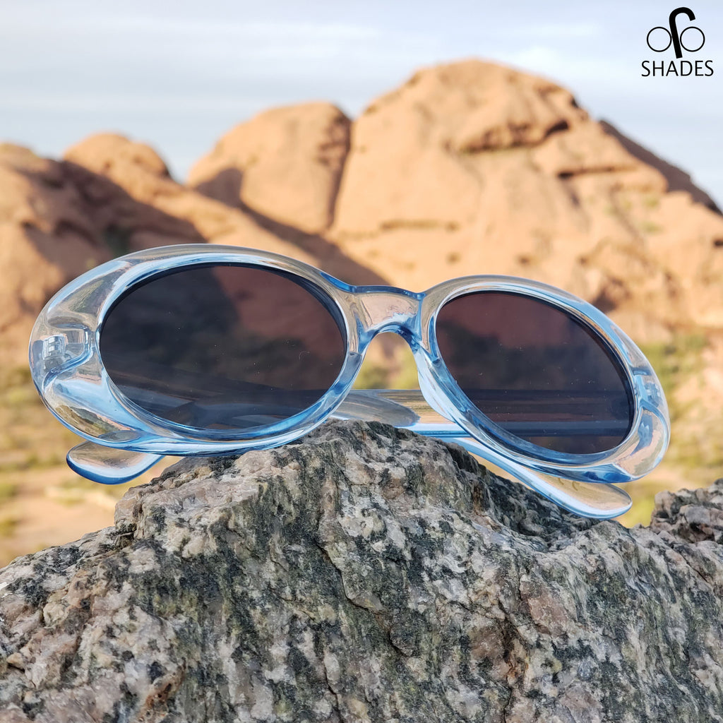 Transparent Blue Clout Goggles - Kurt Cobain Sunglasses