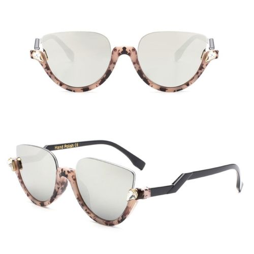 Half Cut Cat Eye Clear Eye Sunglasses - OjOShades