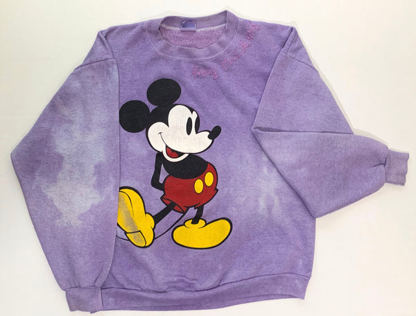 One-of-a-kind faded purple vintage mickey sweatshirt ADULT LARGE