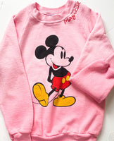 One-of-a-kind faded pink vintage mickey sweatshirt ADULT SMALL